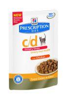 Hill`s Feline C/D Urinary Stress Chicken maaltijdzakjes 12 x 85 gram