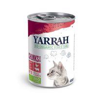 Yarrah Bio Kattenvoer Chunks met kip en rund - 12 x 405 gram